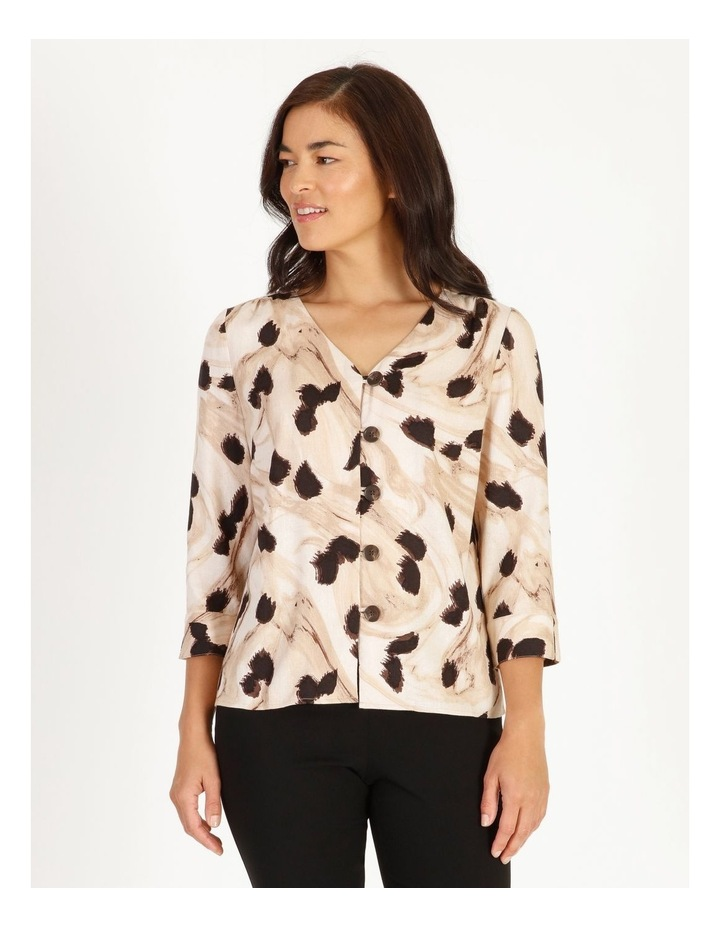 Burnished Button Front Top With 3/4 Sleeve image 1