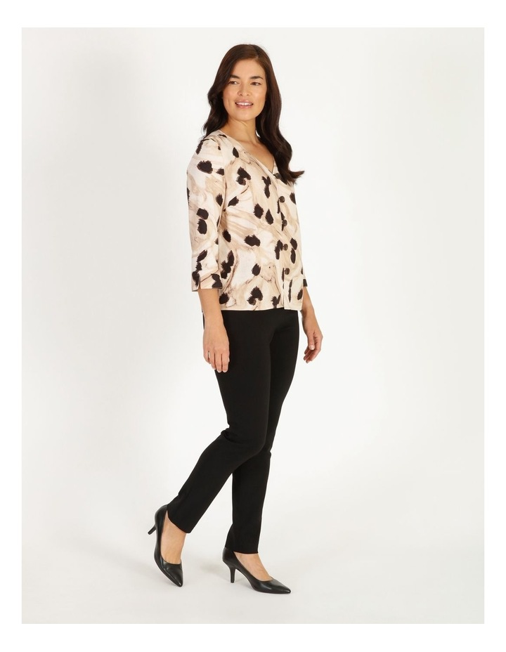 Burnished Button Front Top With 3/4 Sleeve image 2