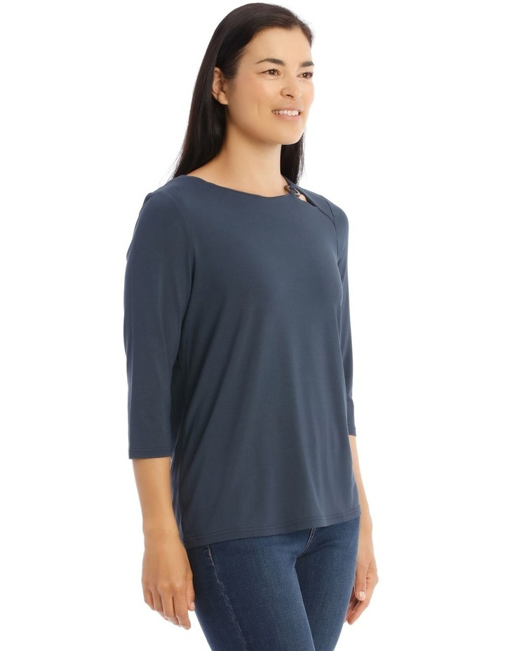 3/4 Sleeve Side Keyhole Tee With Fancy Ring Tee image 2