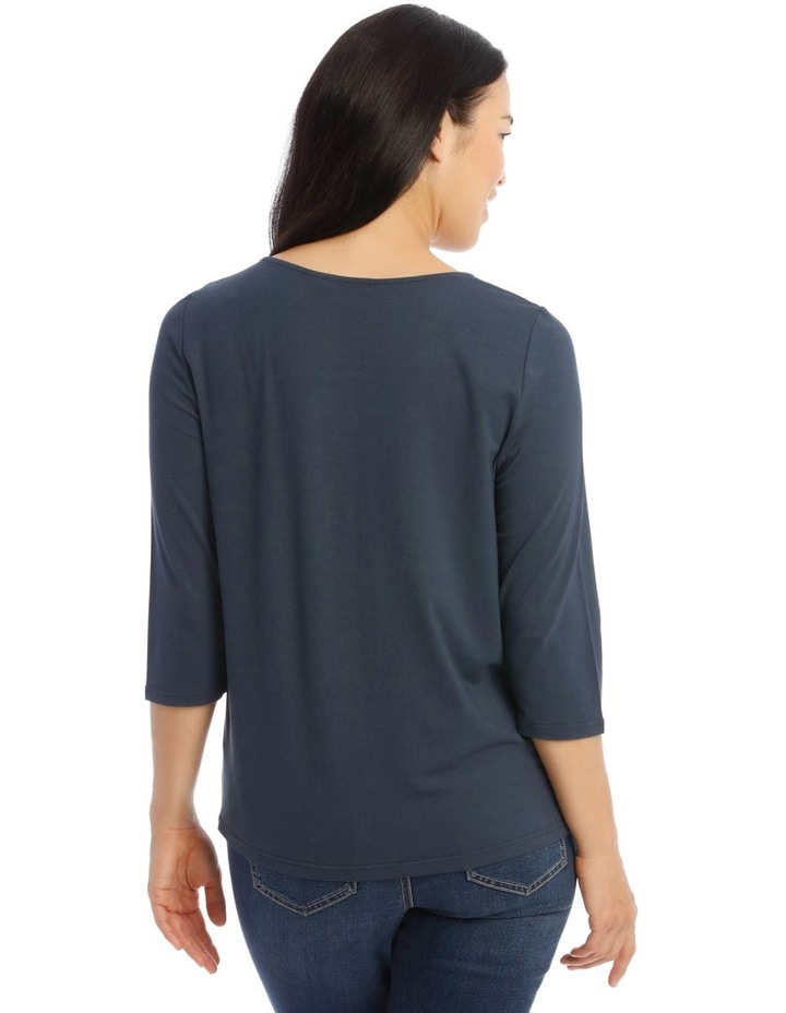 3/4 Sleeve Side Keyhole Tee With Fancy Ring Tee image 3