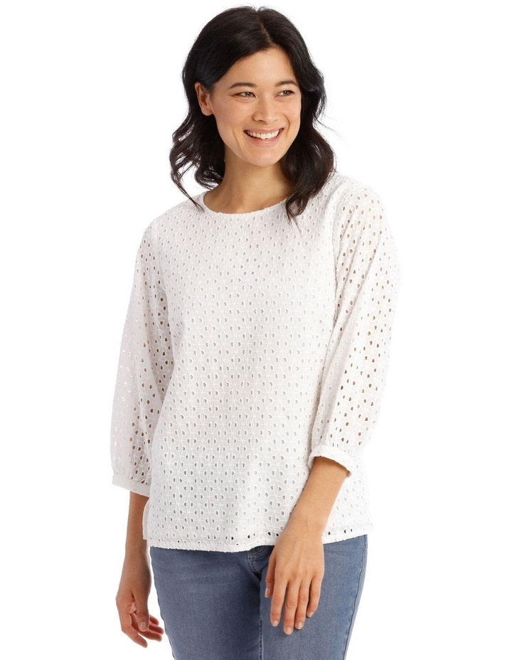 3/4 Puff Sleeve Broderie Top image 1