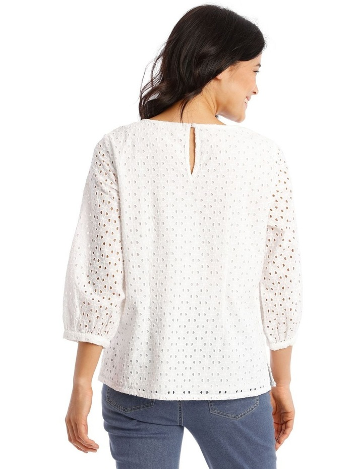 3/4 Puff Sleeve Broderie Top image 3