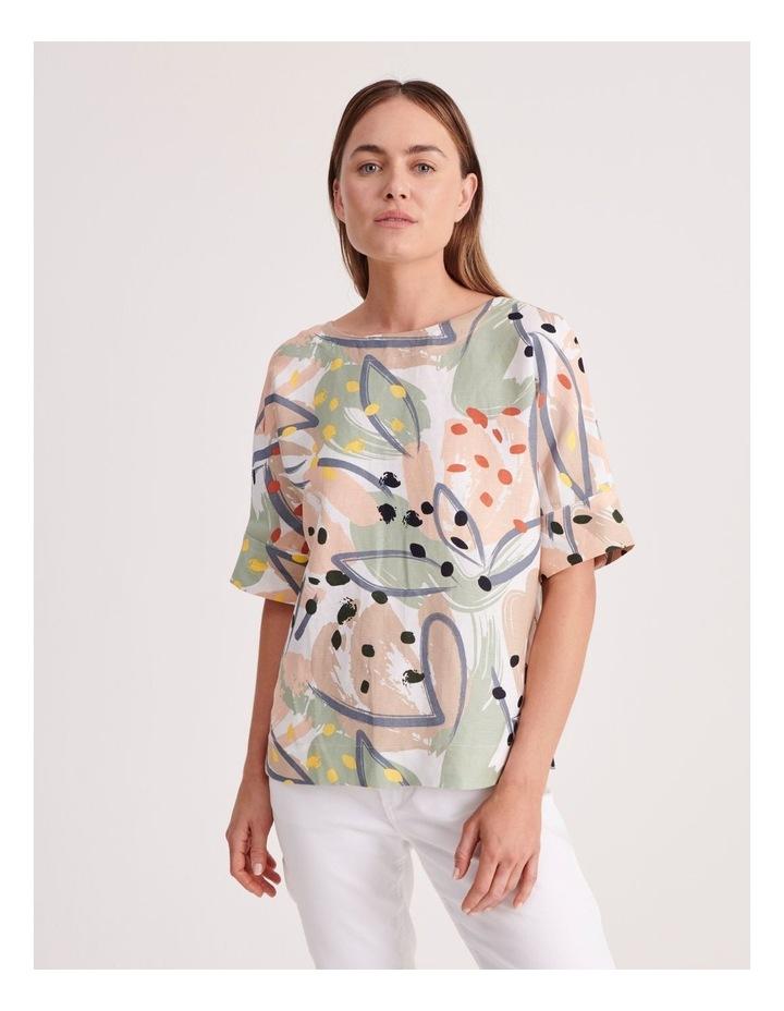 Short Sleeve Linen Blend Top image 1