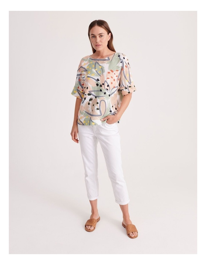 Short Sleeve Linen Blend Top image 2