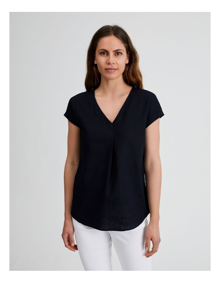 Extended Short Sleeve Linen Top image 1