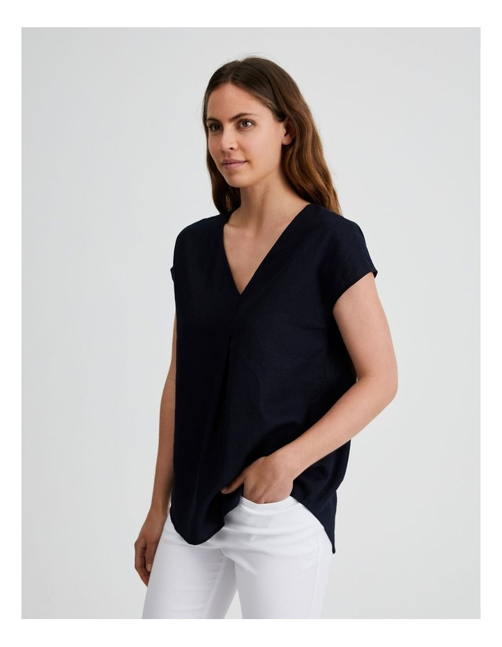 Extended Short Sleeve Linen Top image 2