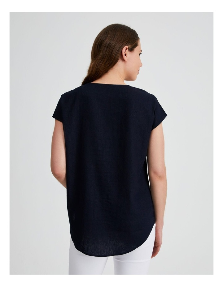 Extended Short Sleeve Linen Top image 3