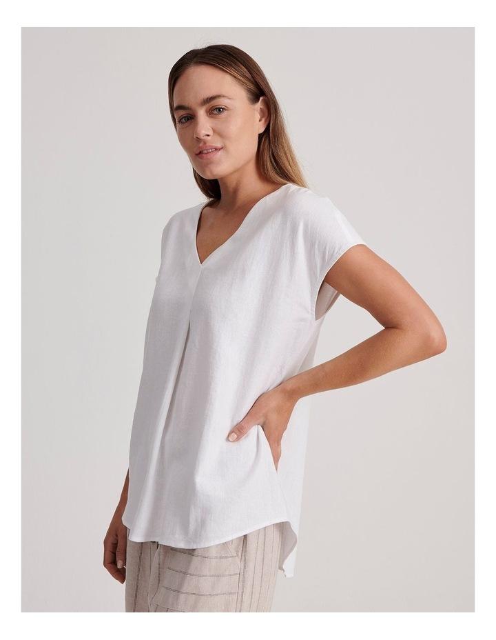 V-Neck Short Sleeve Linen Blend Top image 3
