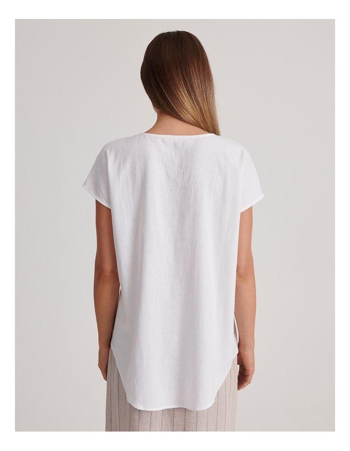 V-Neck Short Sleeve Linen Blend Top image 4
