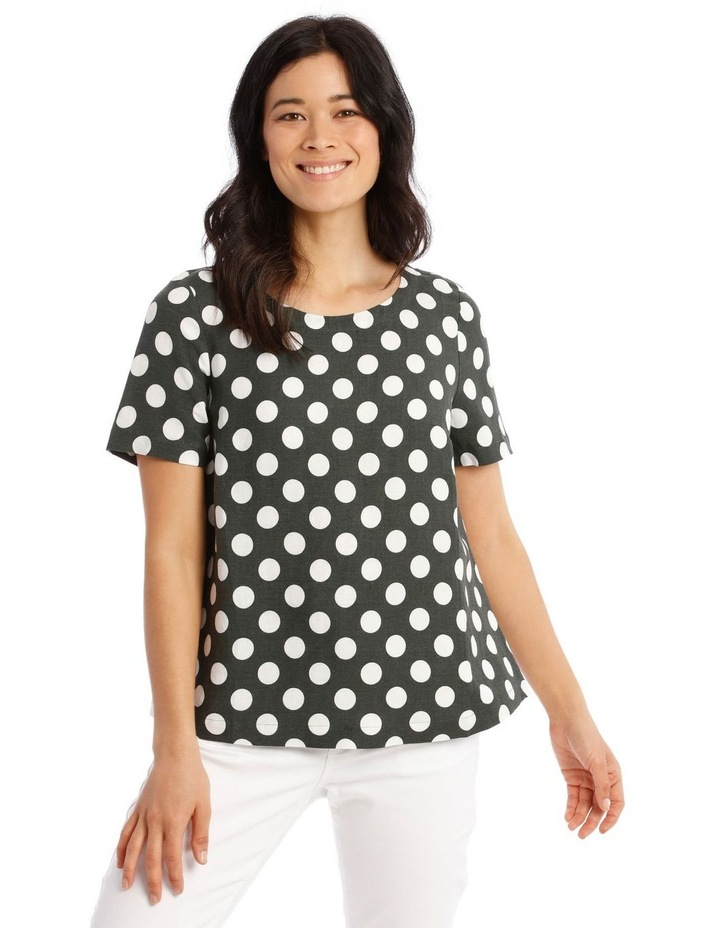 Short Sleeves A-Line Top With Button Back image 1