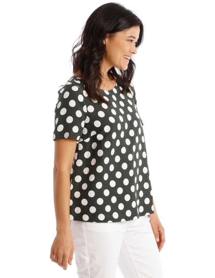 Short Sleeves A-Line Top With Button Back image 2