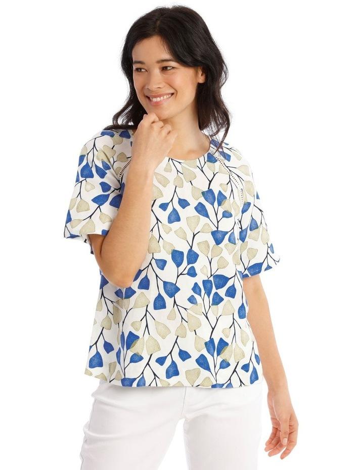 Flutter Short Sleeve Top With Ladder Lace Trim image 1