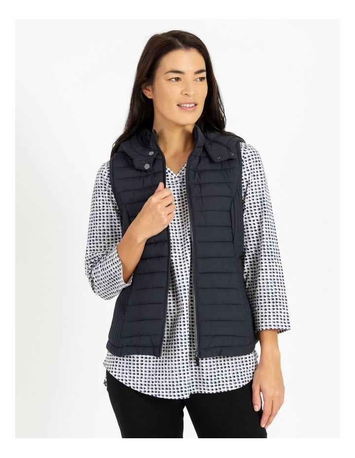 Olive Grove Straight Quilted Vest With Removable Hood image 1