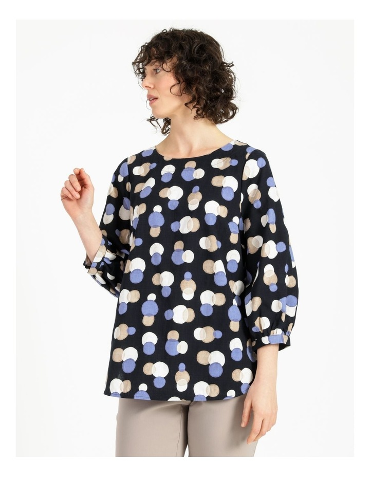 Gathered Cuff Top With Curved Hem image 1
