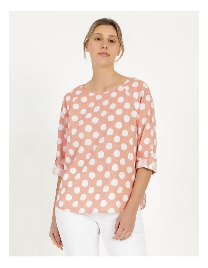 Spot Rolled Sleeve Raglan Top Pink/Ivory image 1