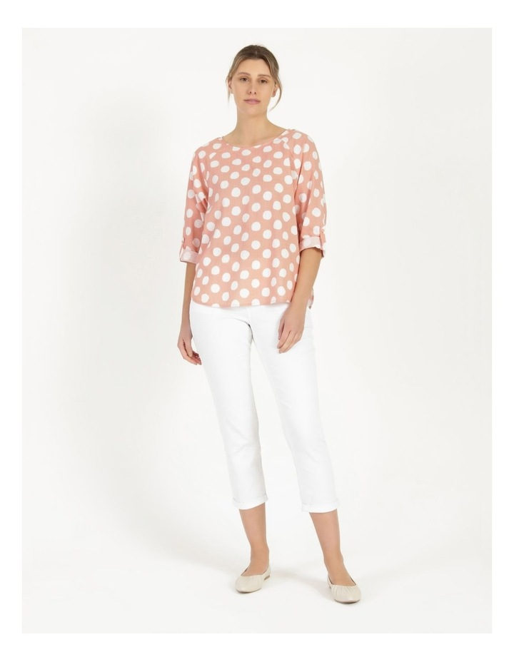 Spot Rolled Sleeve Raglan Top Pink/Ivory image 3
