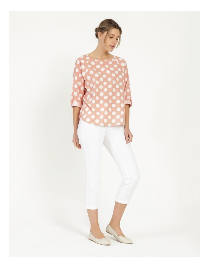 Spot Rolled Sleeve Raglan Top Pink/Ivory image 4