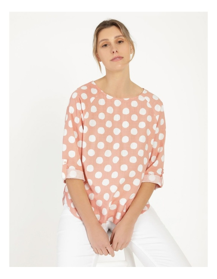 Spot Rolled Sleeve Raglan Top Pink/Ivory image 5