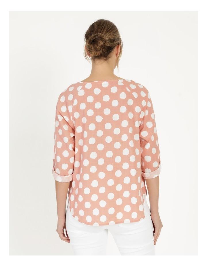 Spot Rolled Sleeve Raglan Top Pink/Ivory image 6