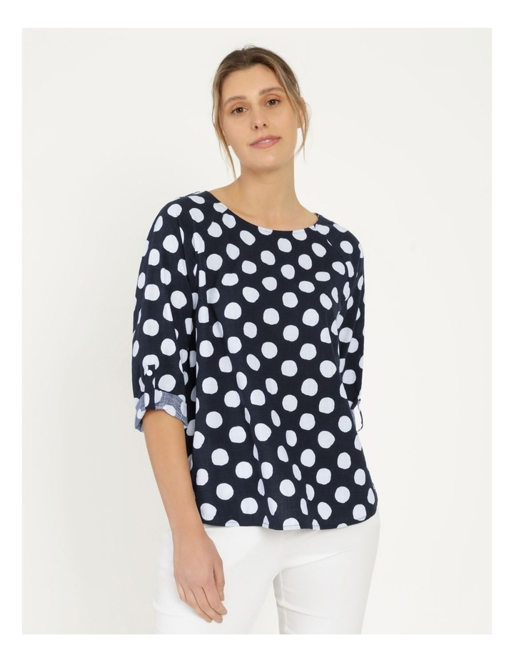 3/4 Rolled Sleeve Raglan Top With Curved Hem Navy/White Spot image 1