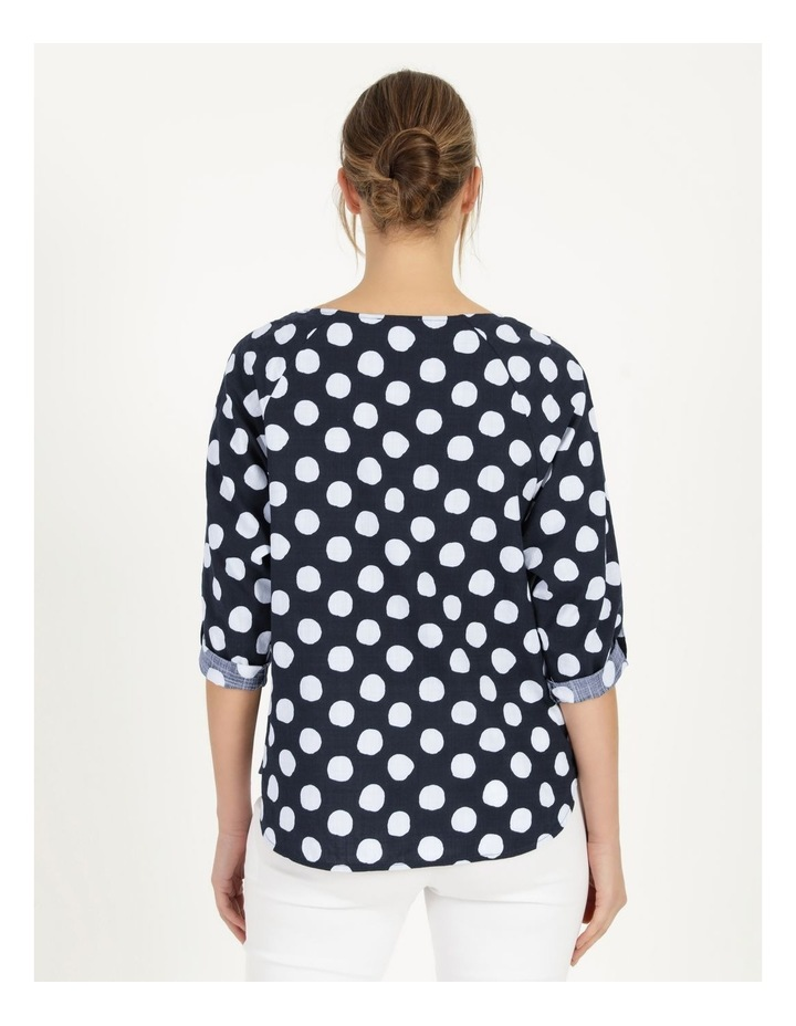 3/4 Rolled Sleeve Raglan Top With Curved Hem Navy/White Spot image 3