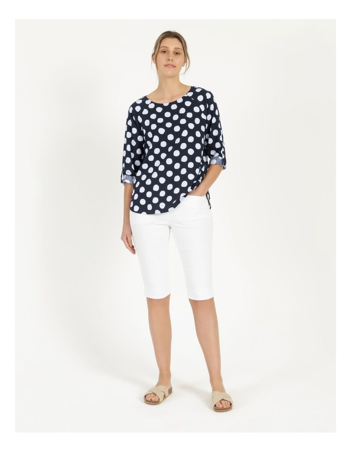 3/4 Rolled Sleeve Raglan Top With Curved Hem Navy/White Spot image 4