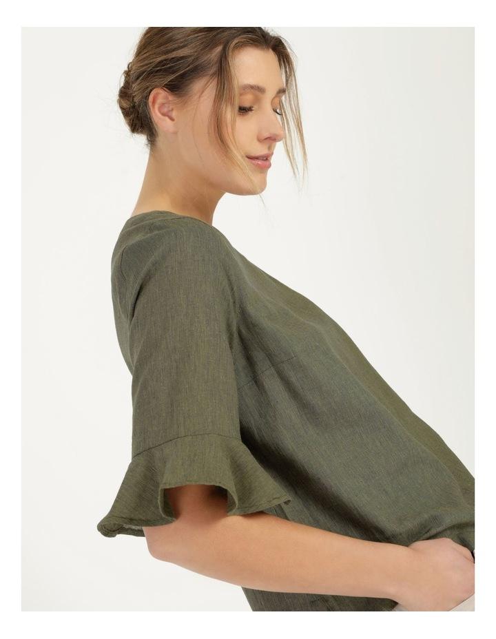 Fluted Short Sleeve Top Khaki/Navy Cross Dye image 1