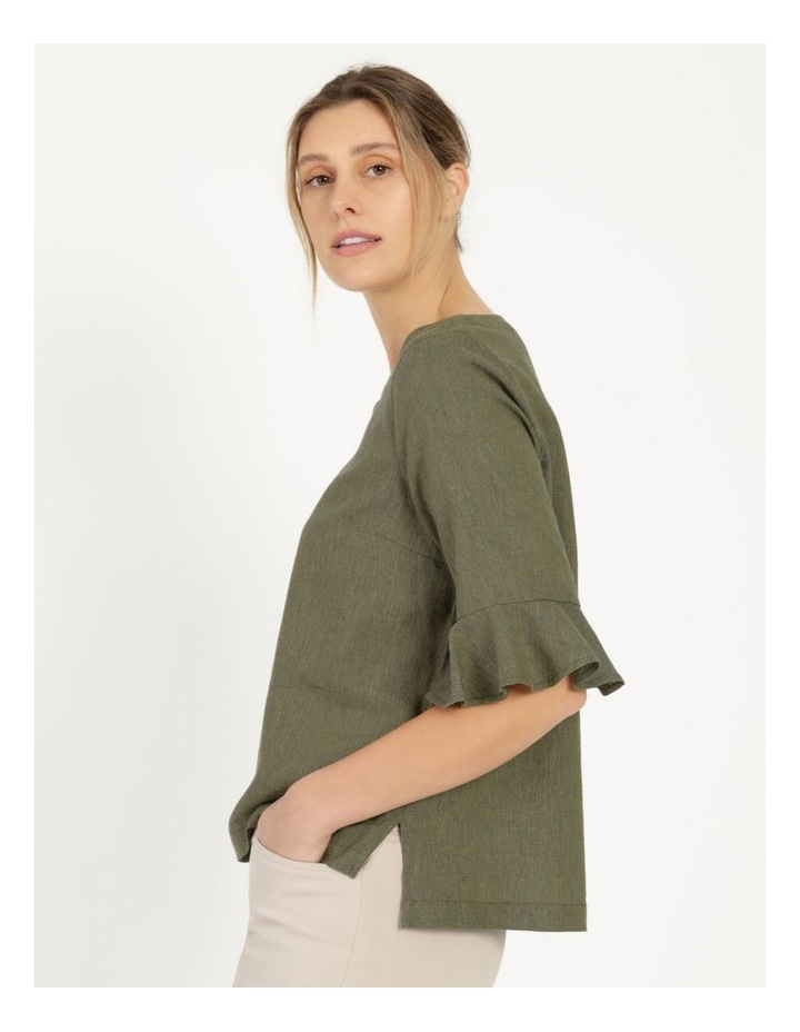 Fluted Short Sleeve Top Khaki/Navy Cross Dye image 3