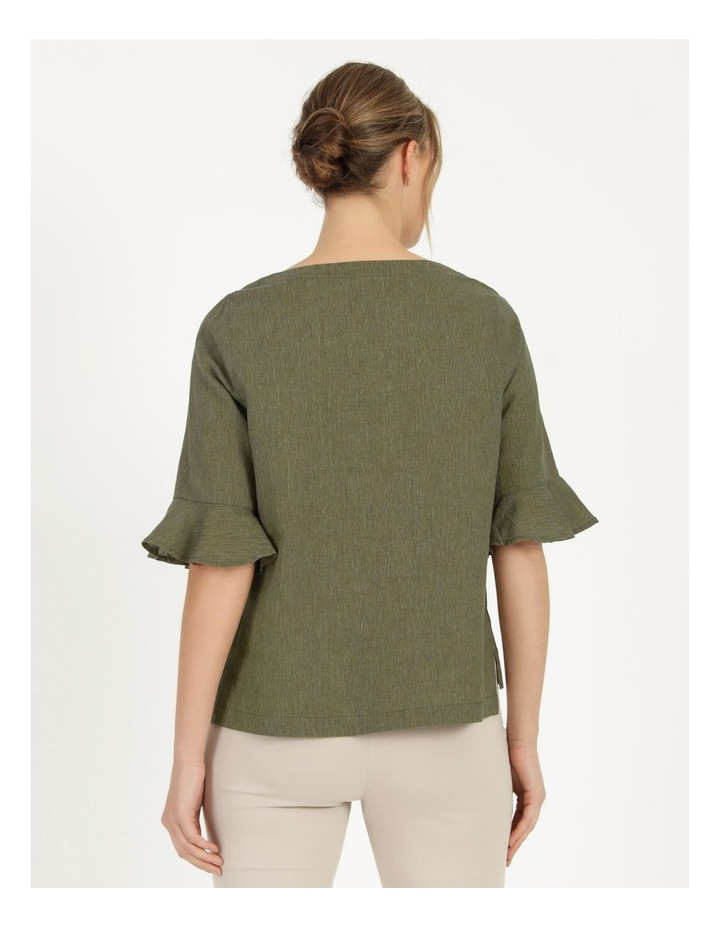 Fluted Short Sleeve Top Khaki/Navy Cross Dye image 6