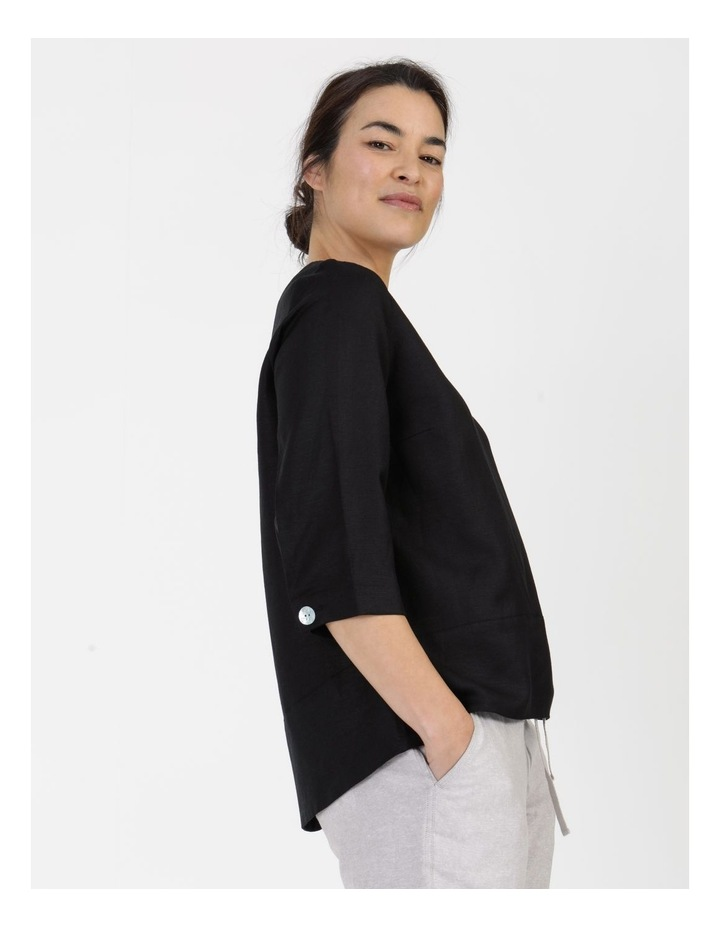 3/4 Button Sleeve Top Black image 1