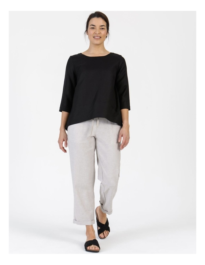 3/4 Button Sleeve Top Black image 2