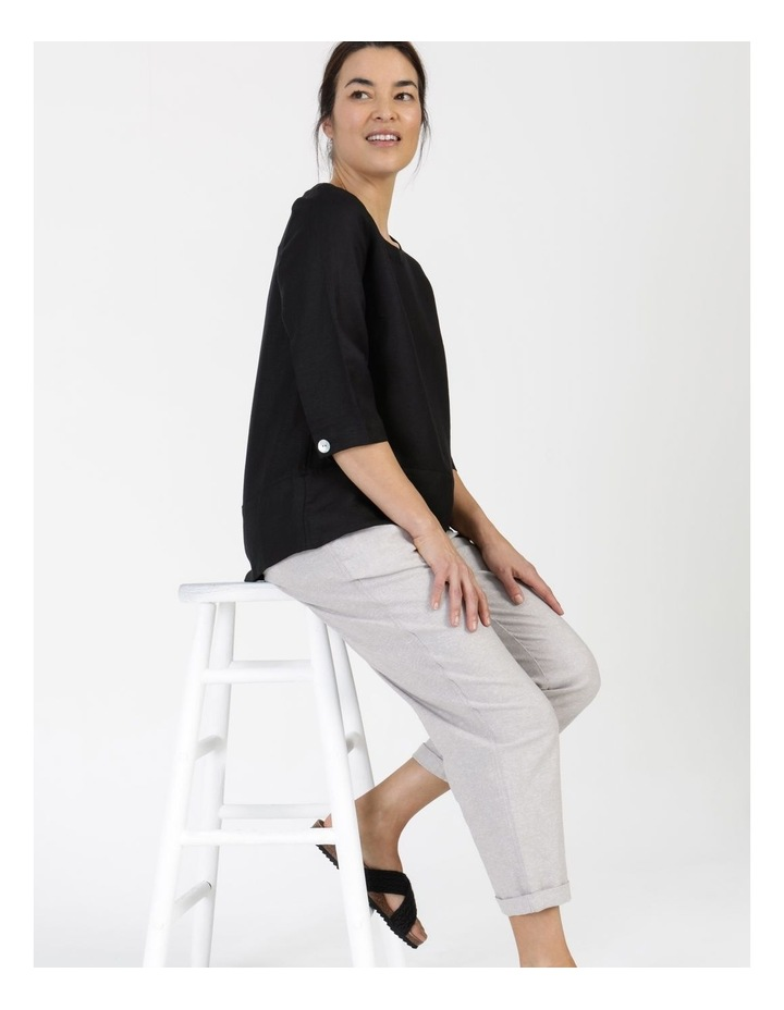 3/4 Button Sleeve Top Black image 3