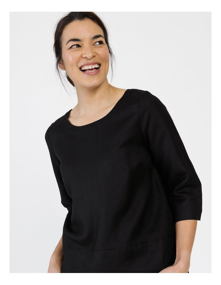 3/4 Button Sleeve Top Black image 4