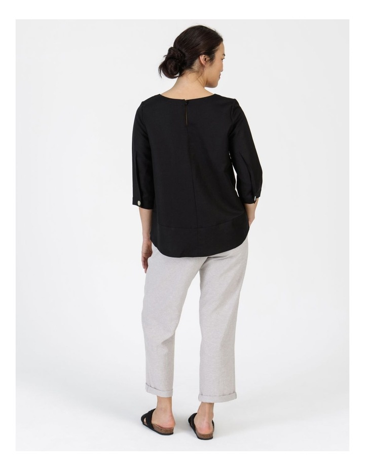 3/4 Button Sleeve Top Black image 5