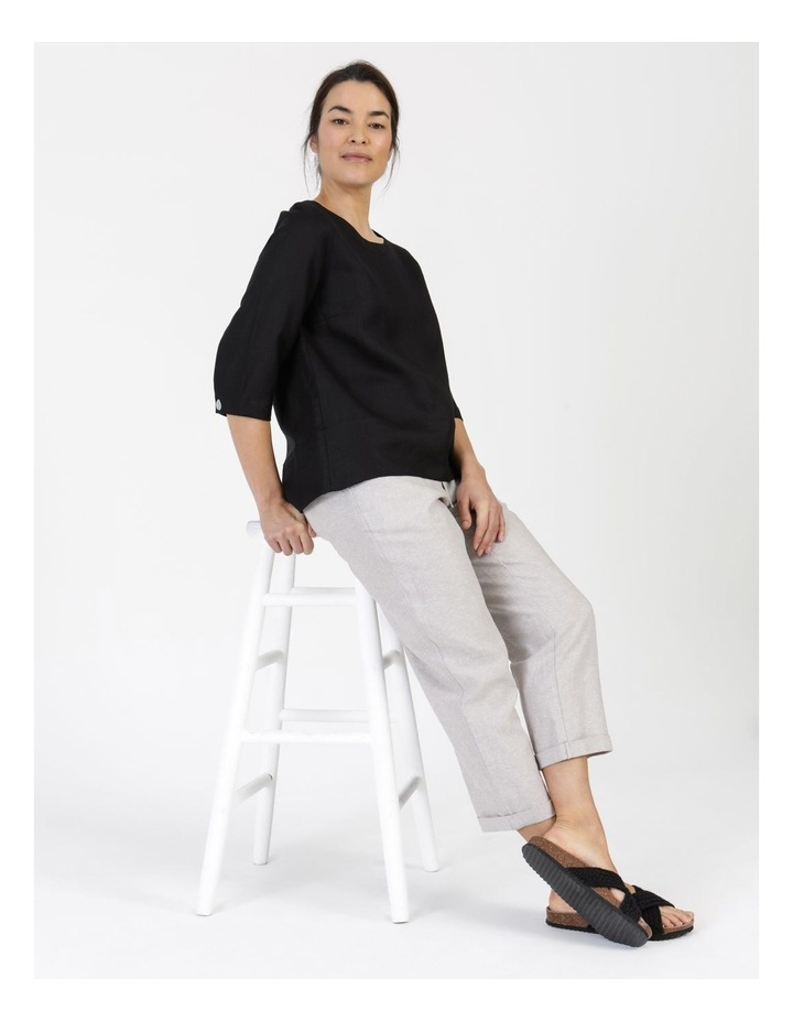 3/4 Button Sleeve Top Black image 6