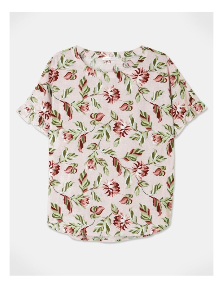 Short Sleeve Magyar Top With Frill Sleeve Pink Floral image 1