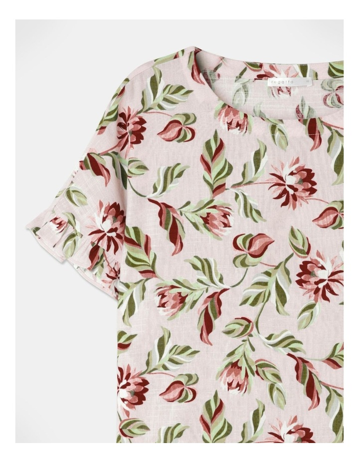 Short Sleeve Magyar Top With Frill Sleeve Pink Floral image 2