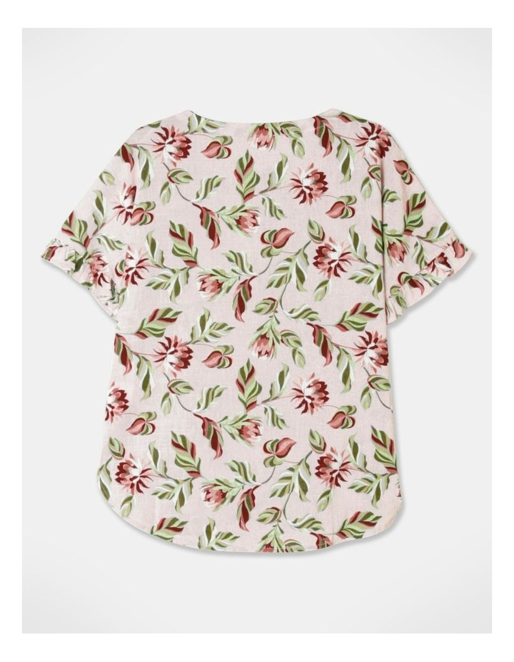 Short Sleeve Magyar Top With Frill Sleeve Pink Floral image 3