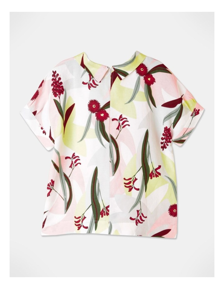 Tuck Cuff Magyar Short Sleeve Cowl Neck Top Pink/Grey Floral image 3