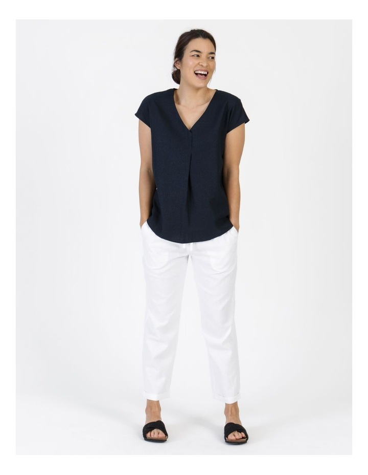 Extended Short Sleeve Linen Blend Woven V Neck Pleat Front Top Navy image 1