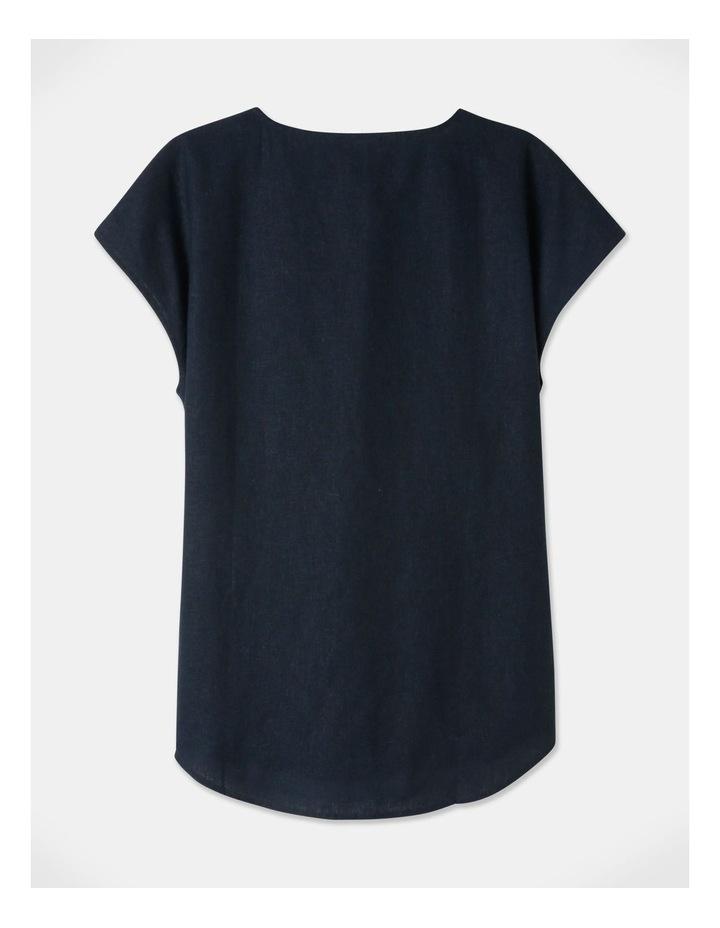 Extended Short Sleeve Linen Blend Woven V Neck Pleat Front Top Navy image 3