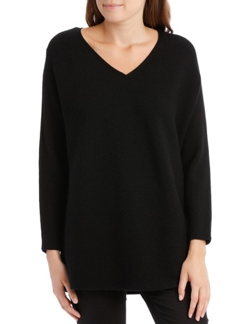 1d7ac6d7450fd3 RegattaRib 3 4 Maygar Sleeve Jumper With V Neck-Black