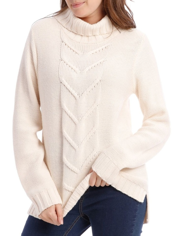 Cable Front Long Sleeve Roll Neck Jumper image 4