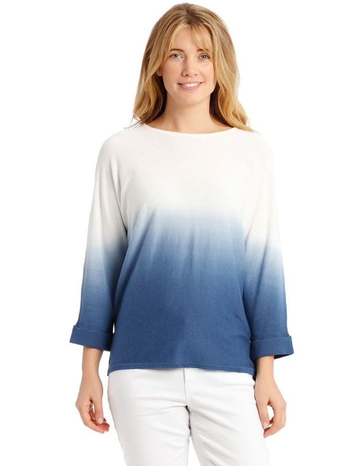 Dip-Dyed Jumper with 3/4 Magyar Sleeves - Blue/White image 1