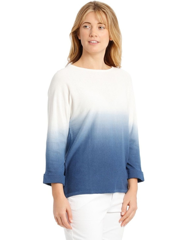 Dip-Dyed Jumper with 3/4 Magyar Sleeves - Blue/White image 2