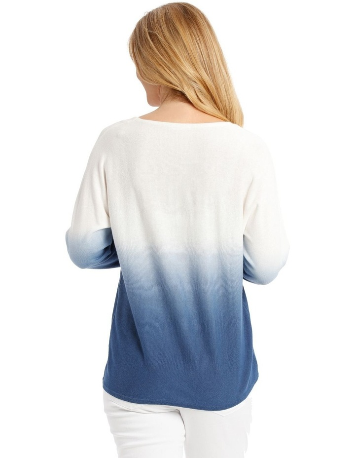 Dip-Dyed Jumper with 3/4 Magyar Sleeves - Blue/White image 3
