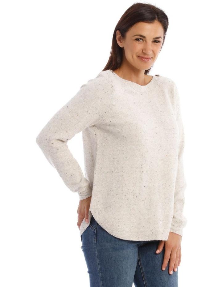 Textured Button Neck Long Sleeve Jumper image 2