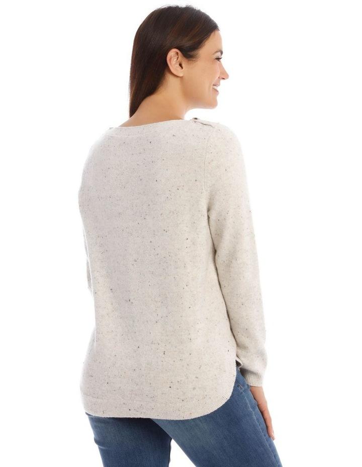 Textured Button Neck Long Sleeve Jumper image 3