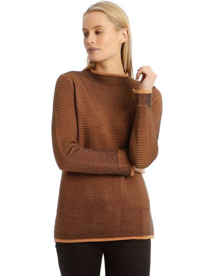 Funnel Neck Contrast Rib Long Sleeve Jumper image 1
