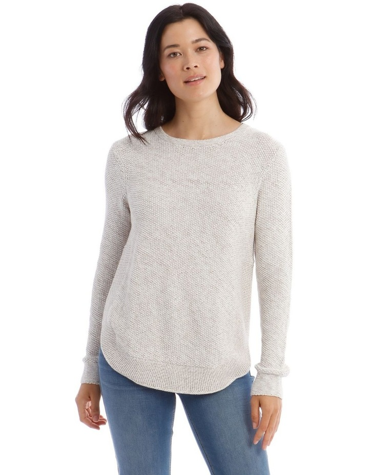 Fancy Knit Front Curved Hem Long Sleeve Jumper image 1